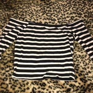 Off the shoulder striped long sleeved crop top